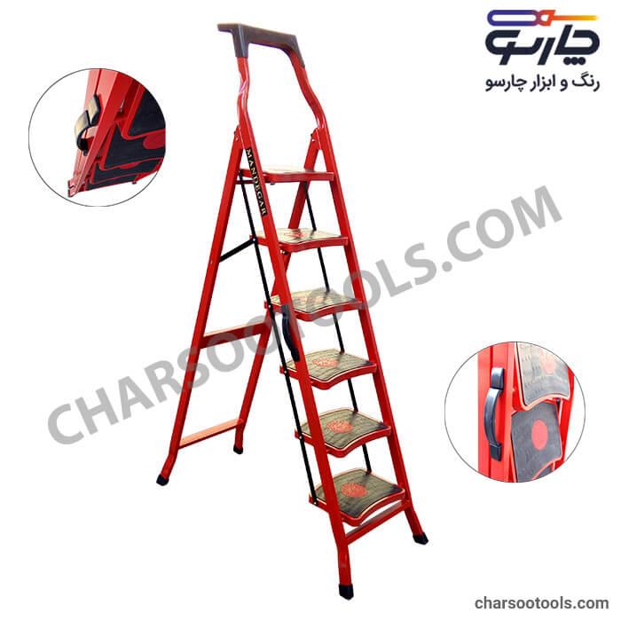 خرید نردبان 6 پله ماندگار مدل سما - نردبان پله پهن- نردبان تاشو
